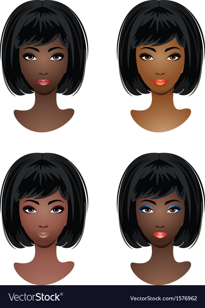 Makeup for africanamerican women vector