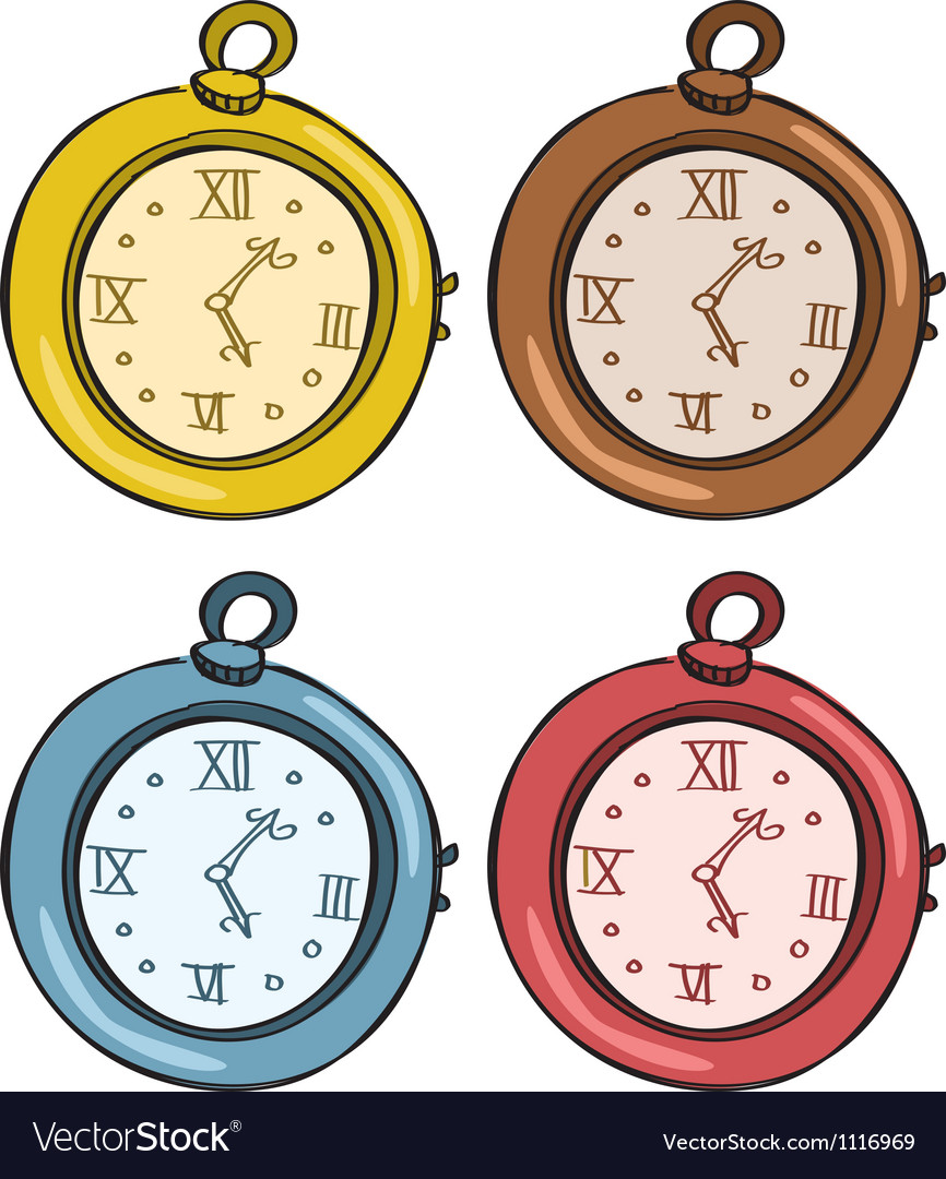 Vintage pocket watch vector