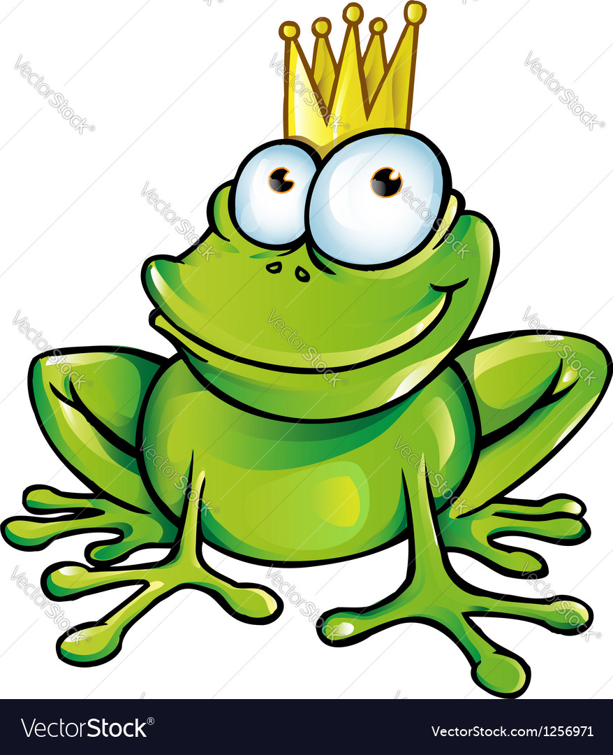 Funny frog prince vector