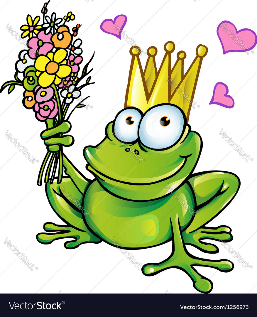 Prince frog with bouquet vector