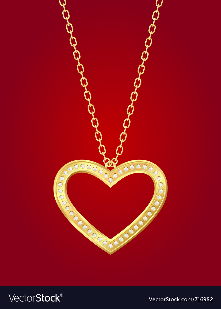 Golden heart vector