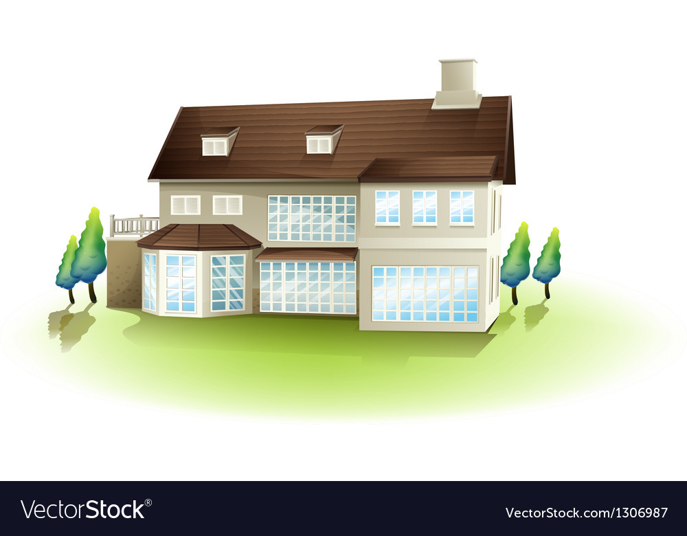 A white concrete house vector