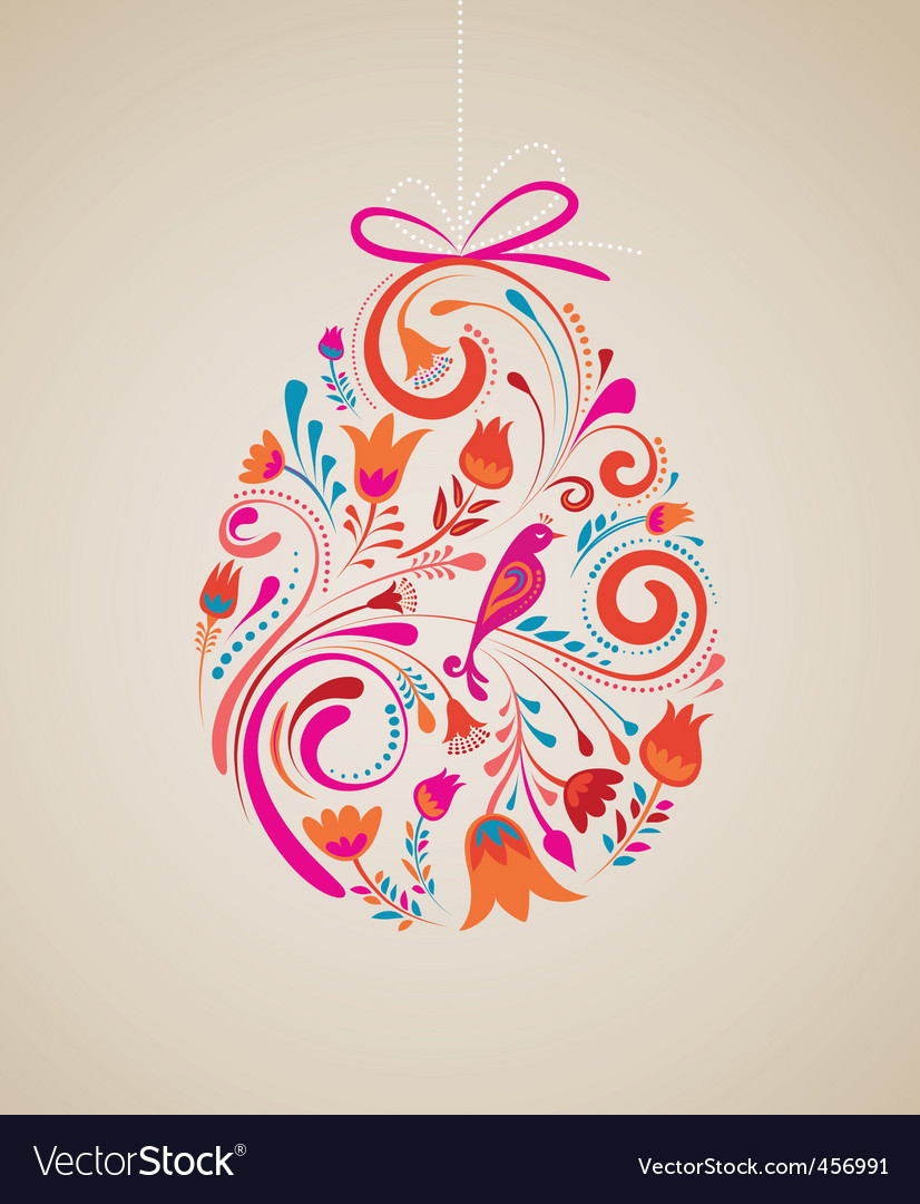 Floral easter egg vector