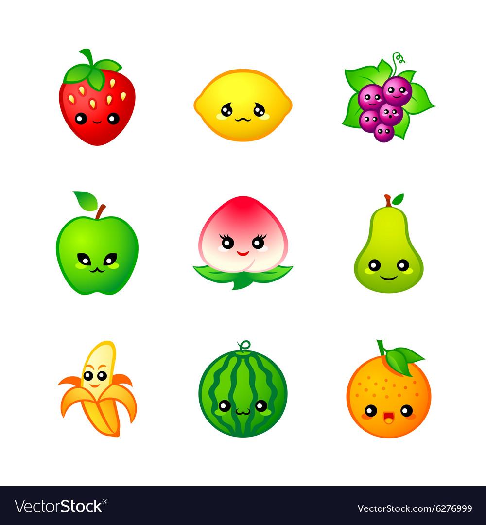 Kawaii fruits vector