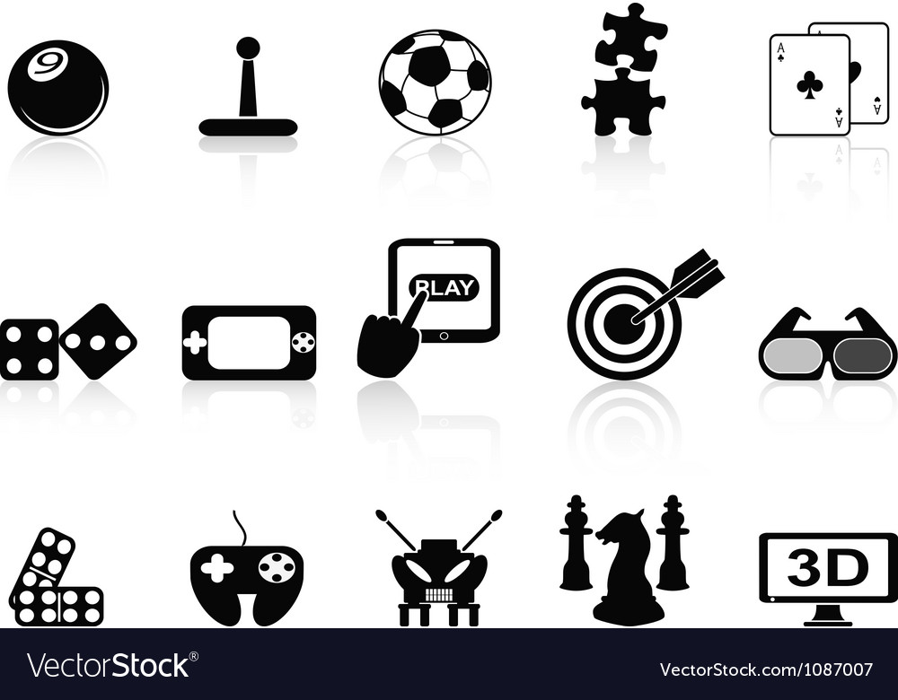 Fun game icons set vector