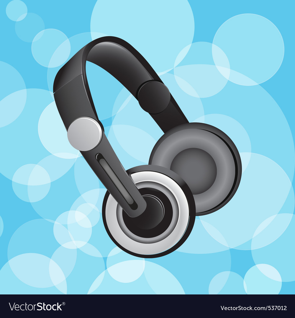 Headphones on blue circular glowing background vector