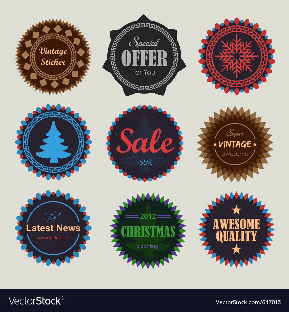 Collection of vintage round badges vector