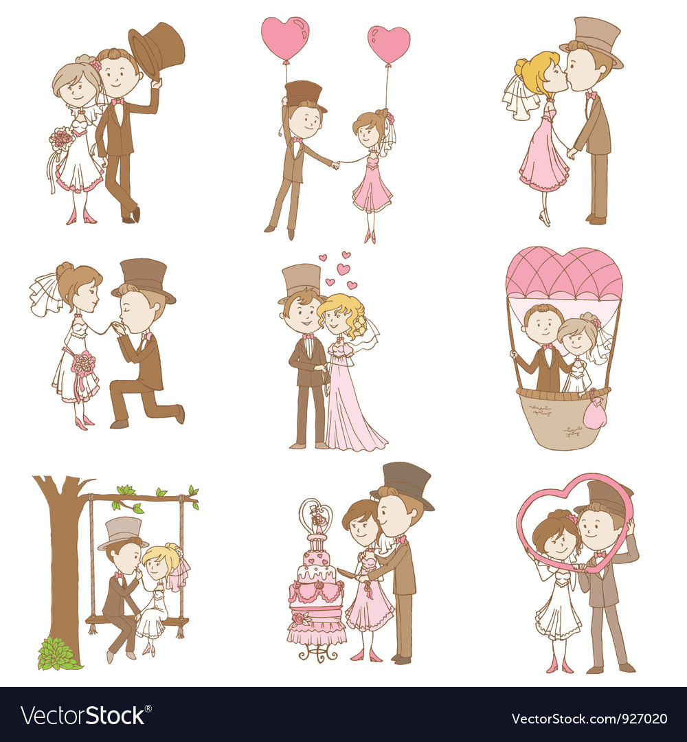 Bride and groom  wedding doodle set vector