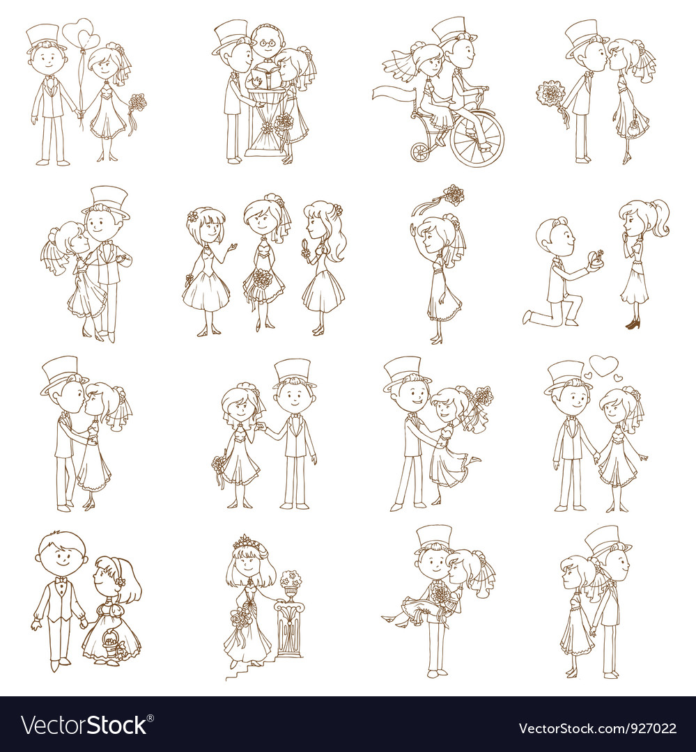 Wedding doodles vector