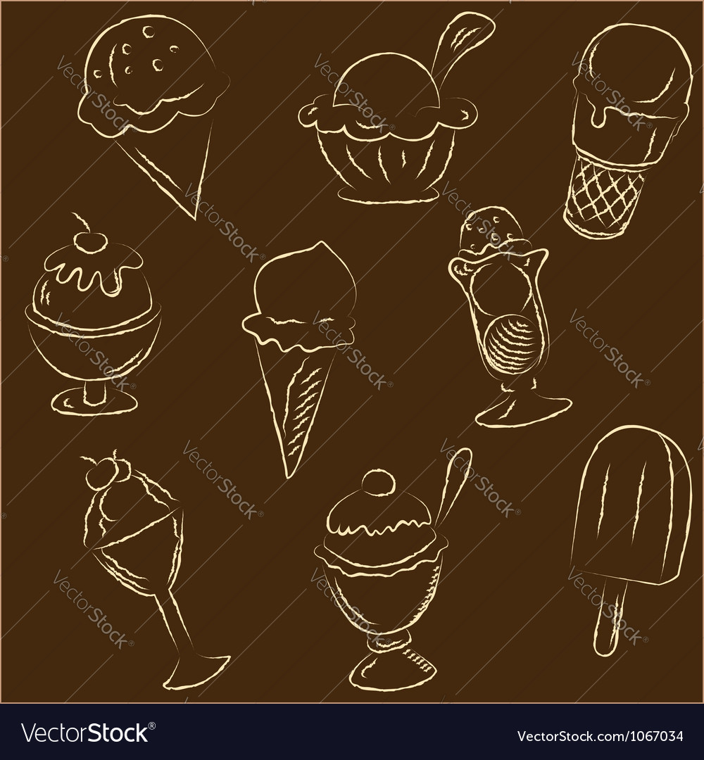 Set of ice creams sketches vector