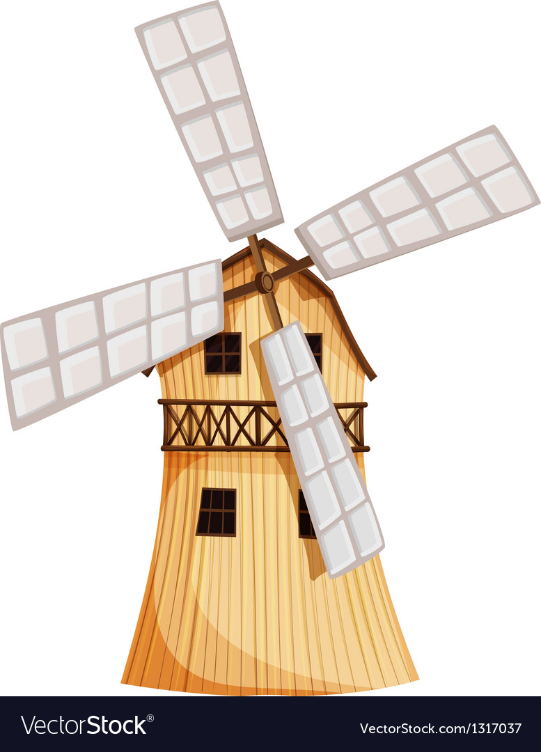 A wooden windmill vector