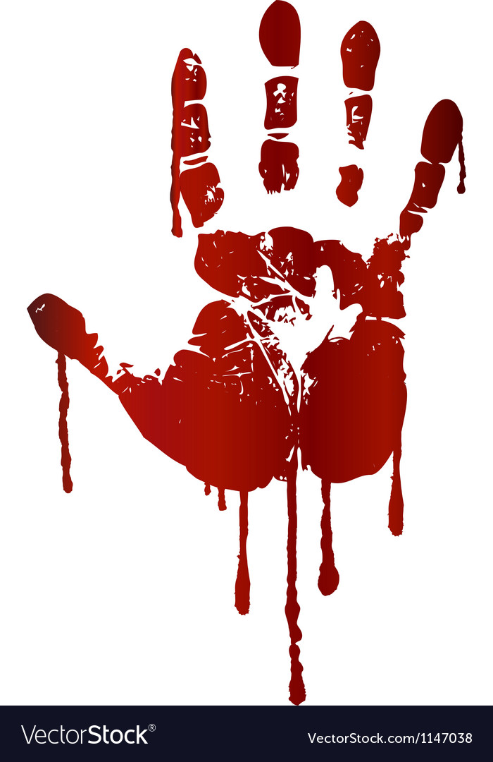 Bloody hand print vector