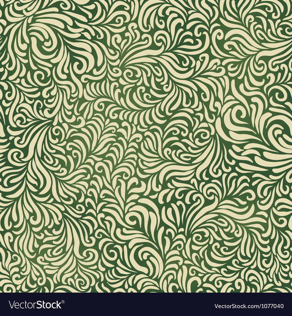 Green colored abstract fantasy pattern vector