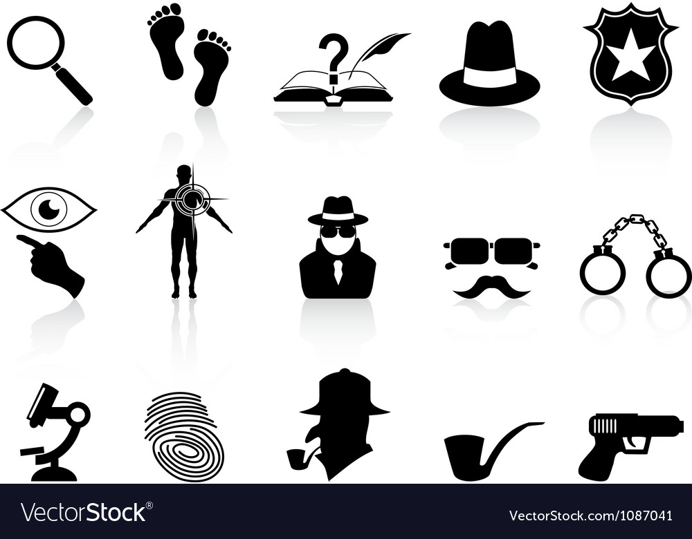 Black detective icons set vector