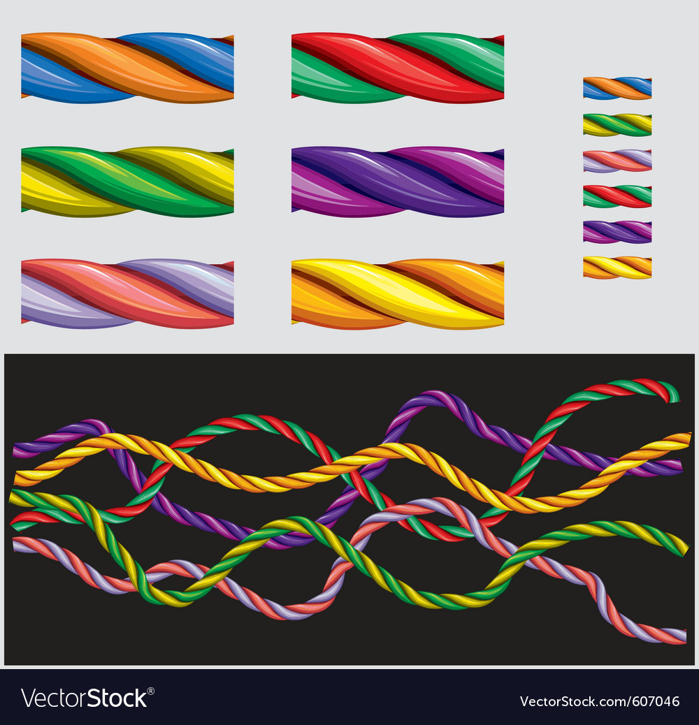 Varicolored ropes vector