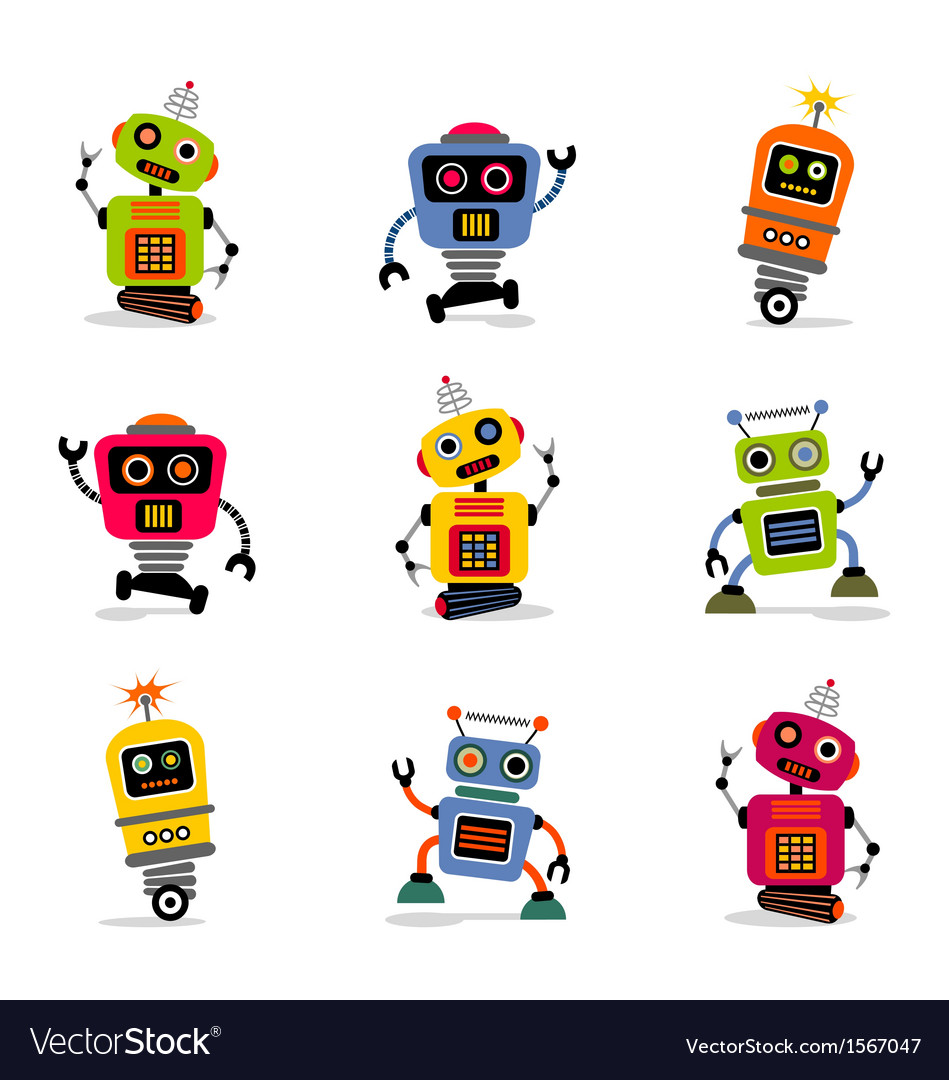 Cute robots set 2 vector