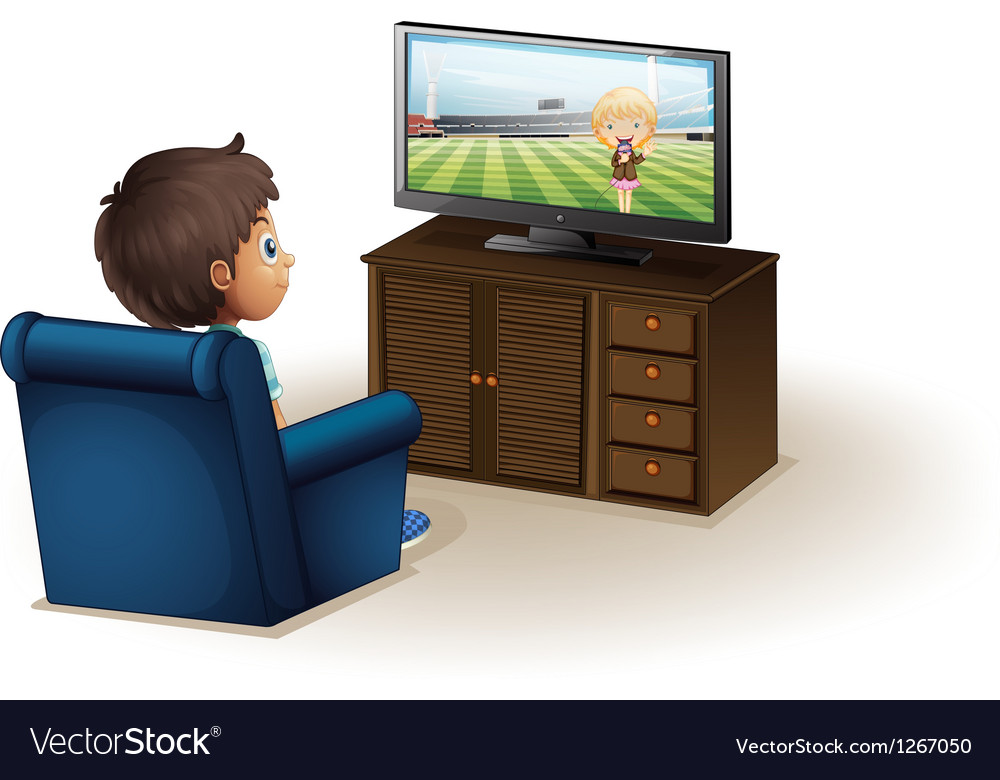 A young boy watching a television vector