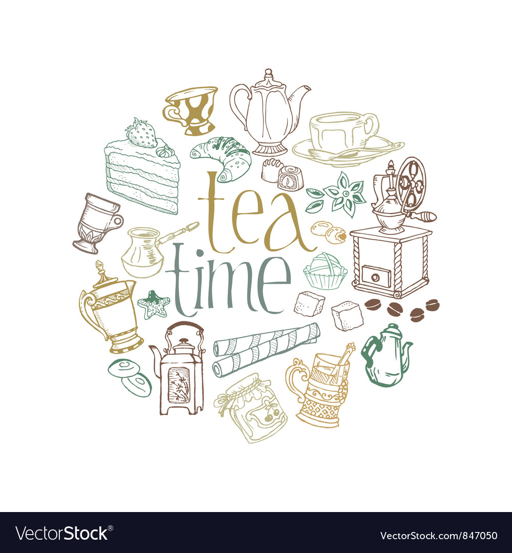 Card with tea and coffee doodles vector