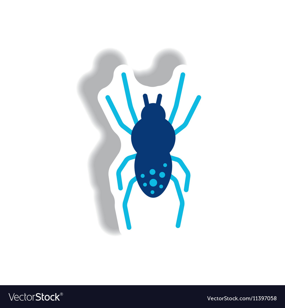 Stylish icon in paper sticker style spider insect