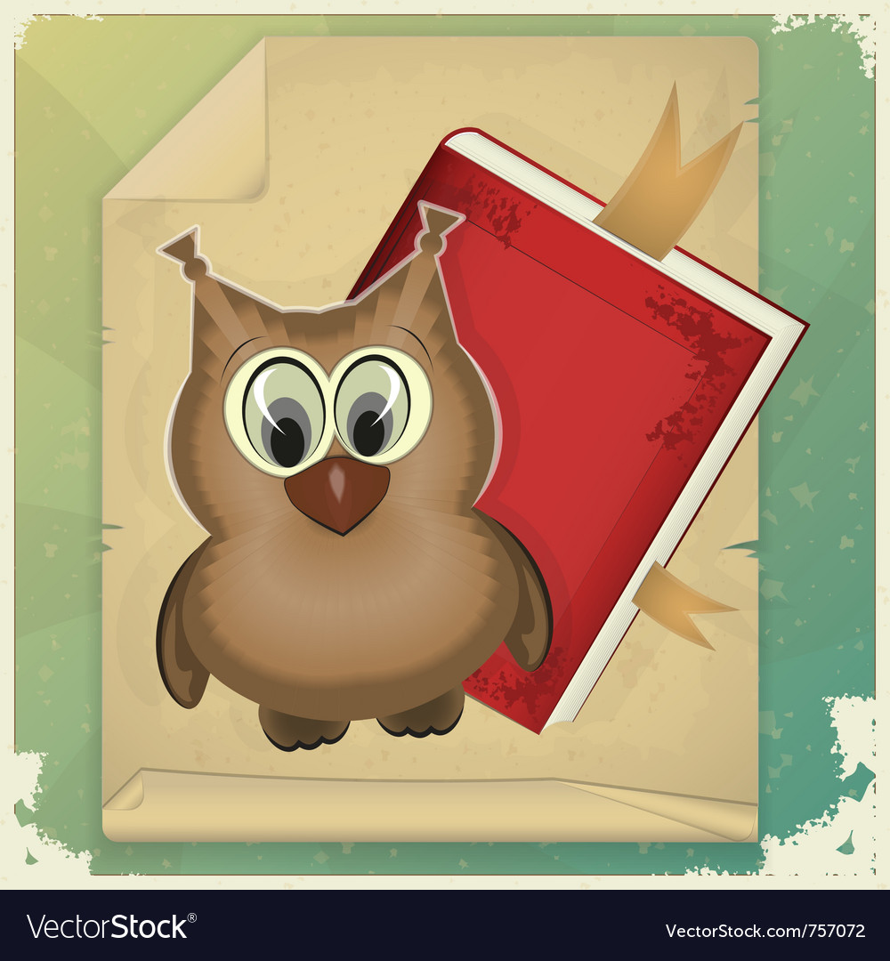 Owl with book vector