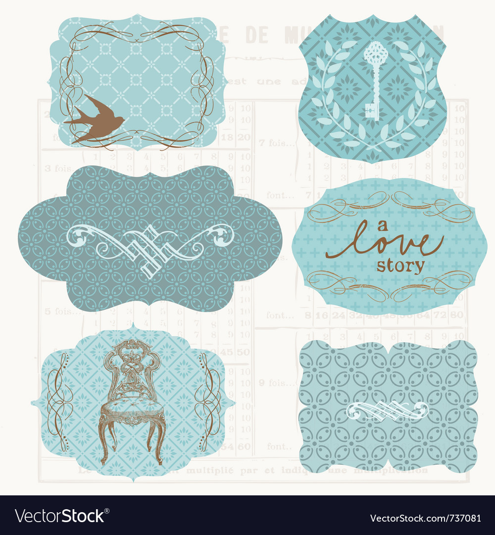 Vintage design elements for scrapbook  old tags a vector