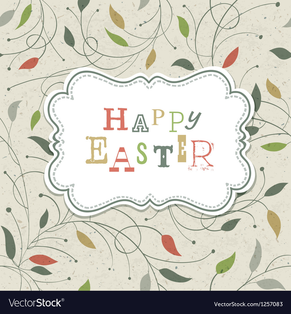 Happy easter retro cute greeting vector