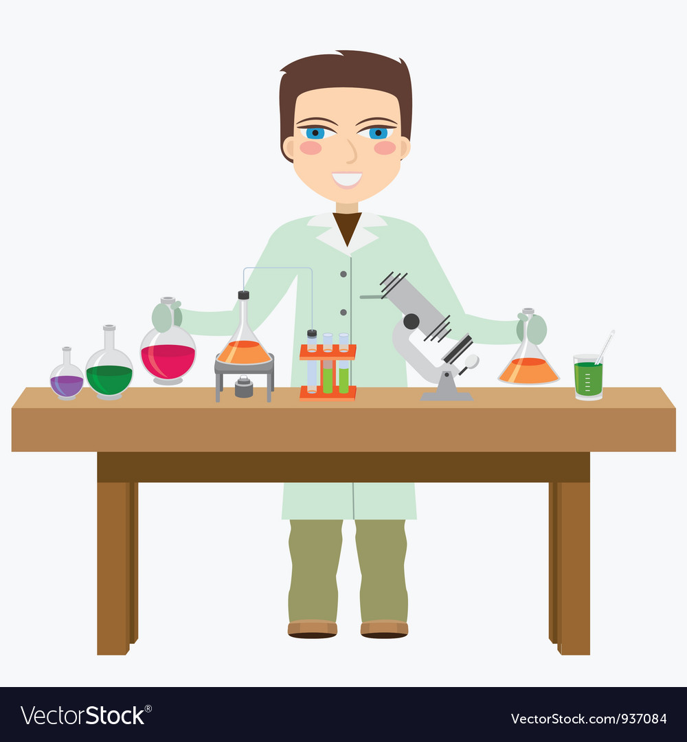 Chemist in the labotatory vector