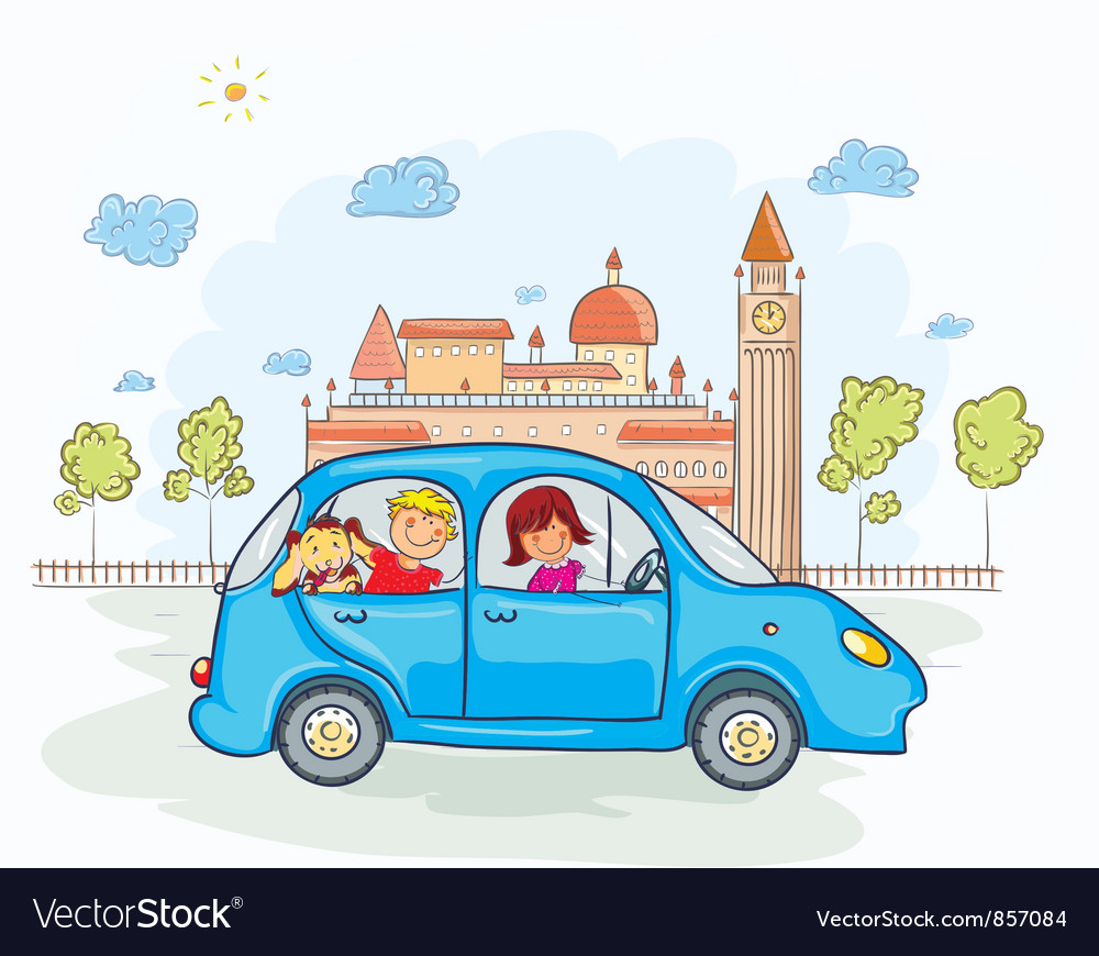 Free family going for a ride vector
