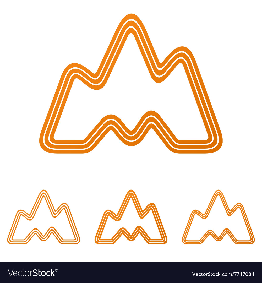 Orange landscape adventure logo design set