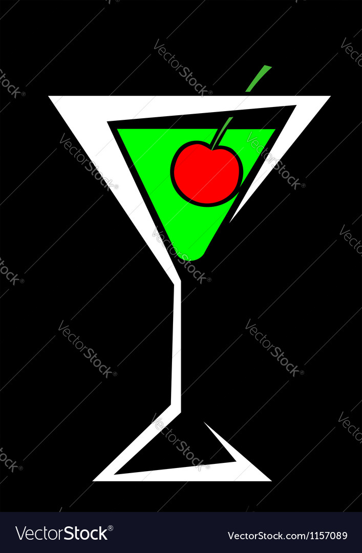 Cocktail and cherries vector