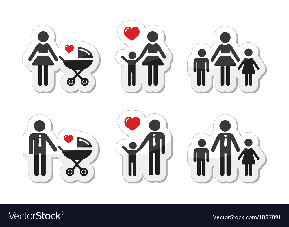Single parent sign  family icons as labels vector