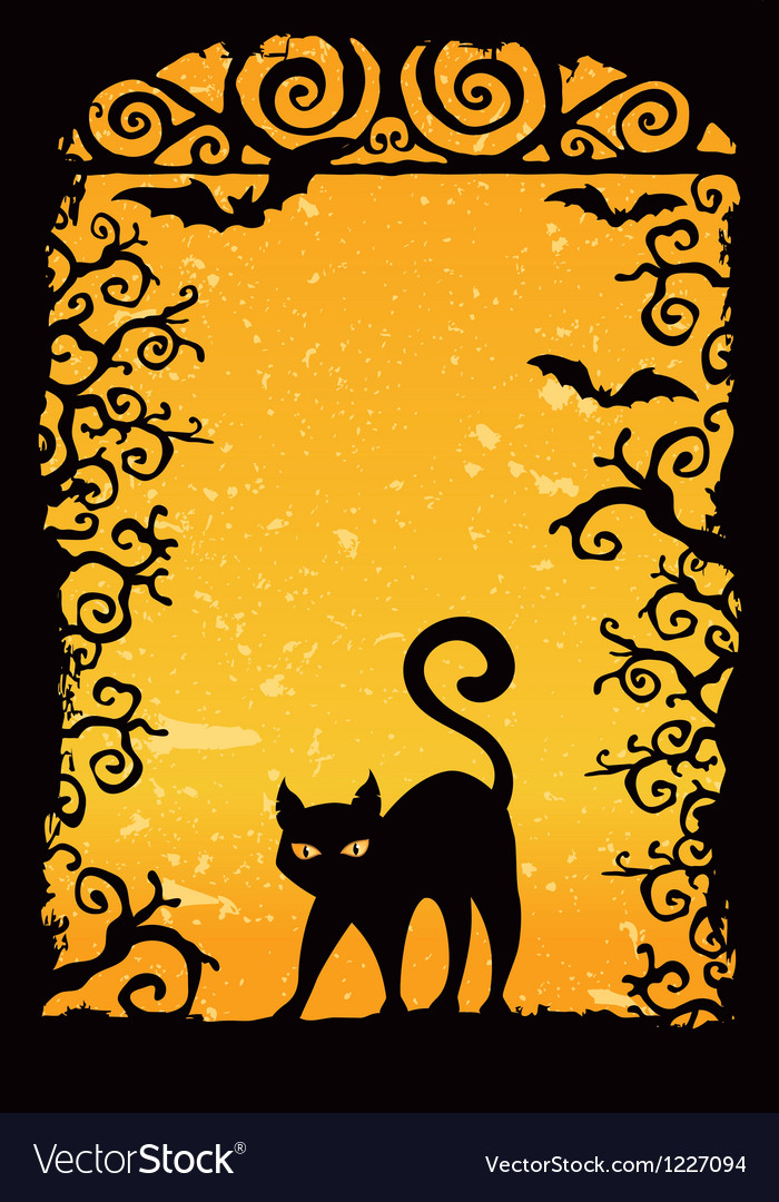 Cute black kitten vector