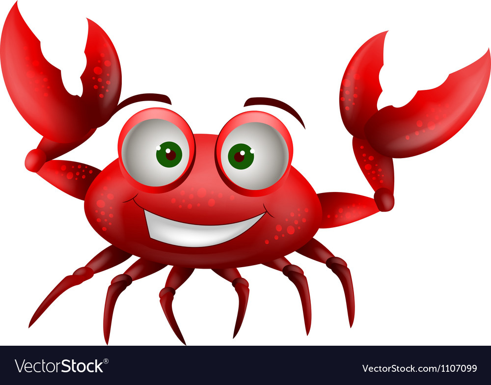 Red crab cartoon smiling vector