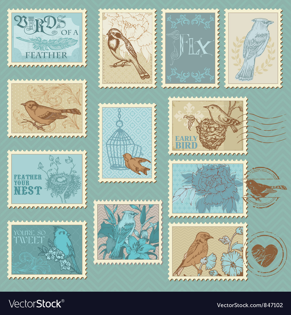 Retro bird postage stamps vector