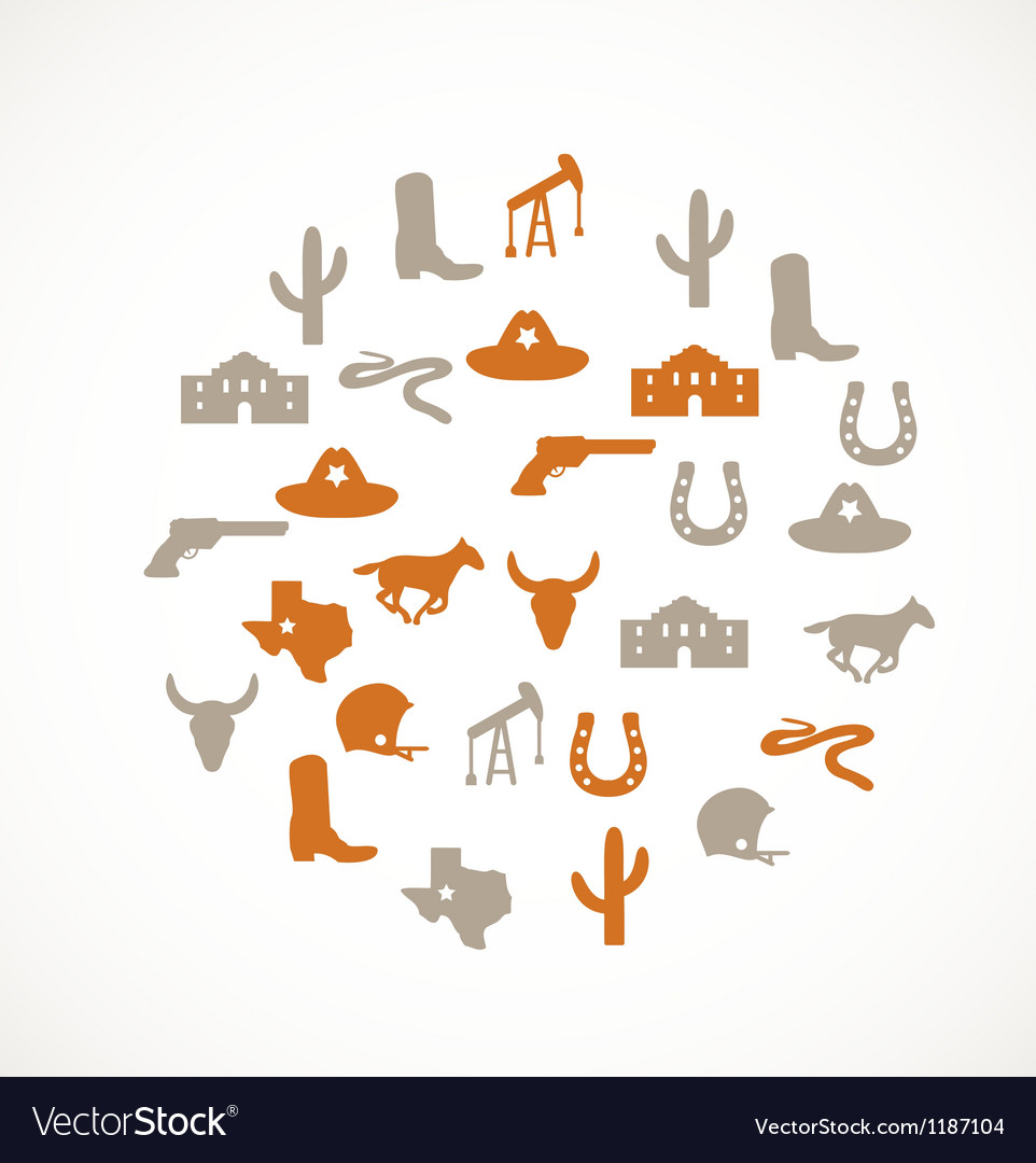 Texas icons vector