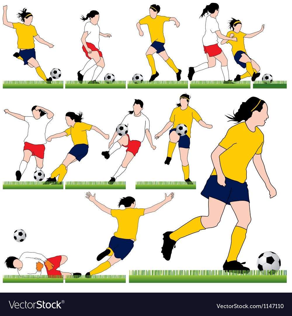 12 female soccer silhouettes set vector