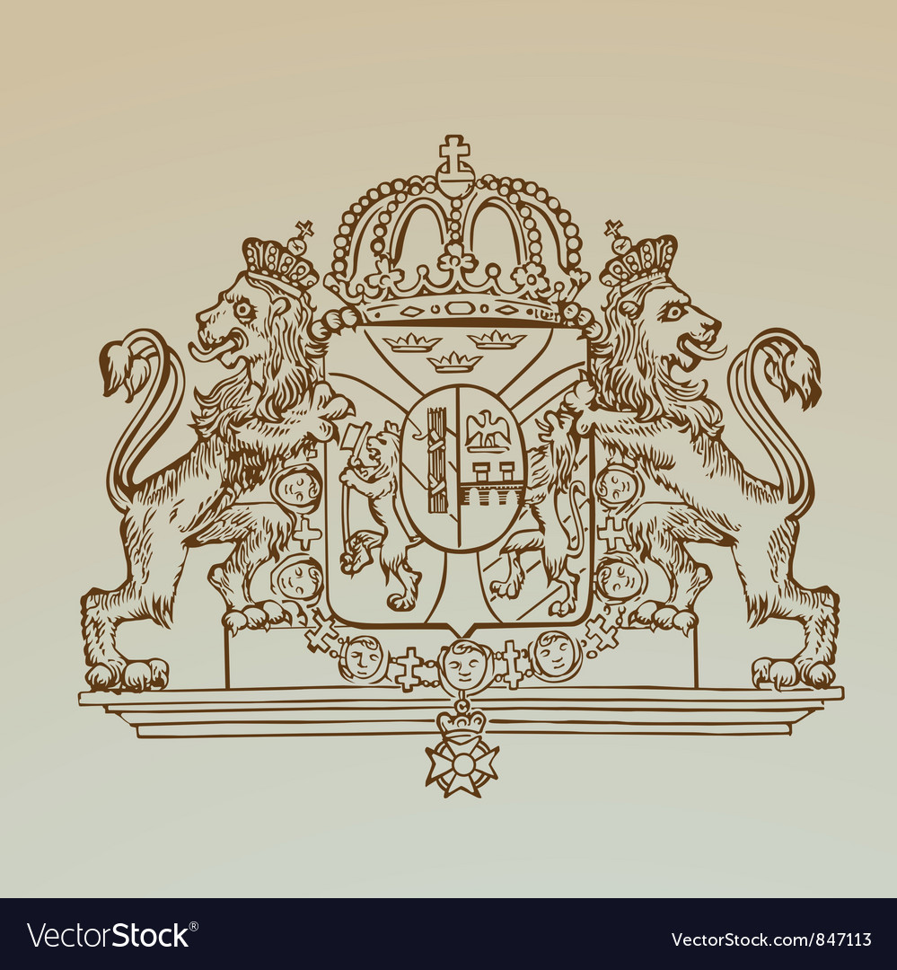 Detailed vintage royalty emblem vector