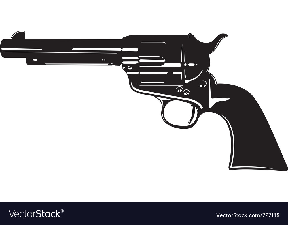Antique revolver vector