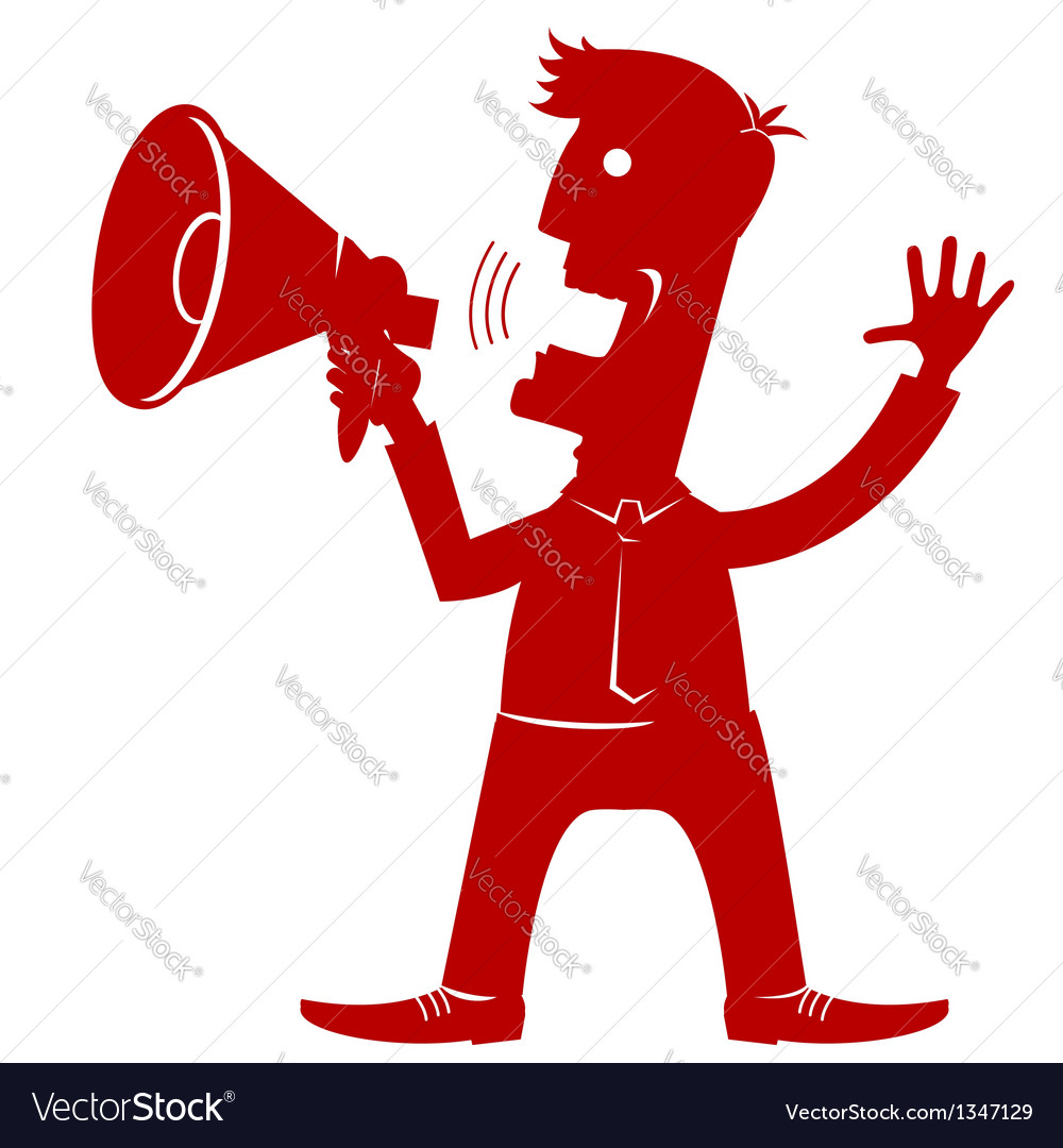 Man in office clothes with loudspeaker vector