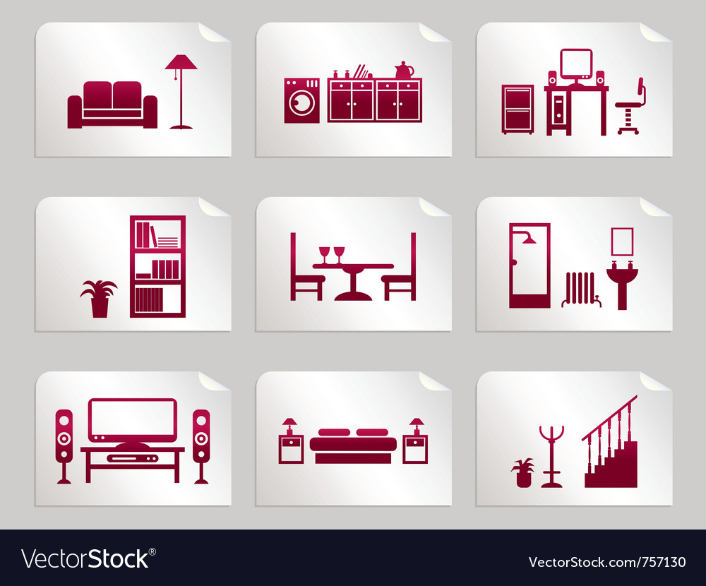 Furniture stickers vector