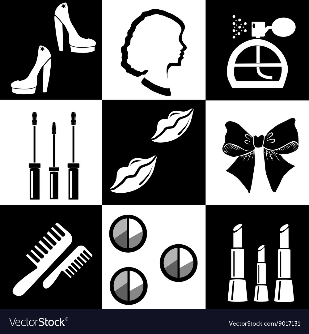 black and white beauty and makeup flat icons vector by