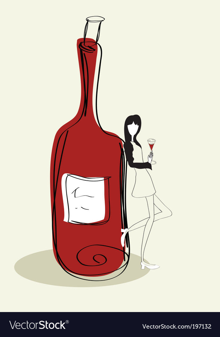 Woman with bottle vector