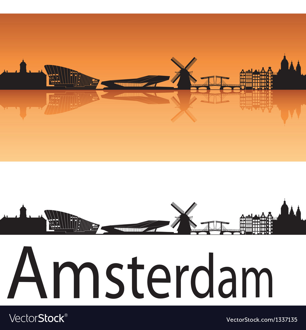 Amsterdam skyline in orange background vector