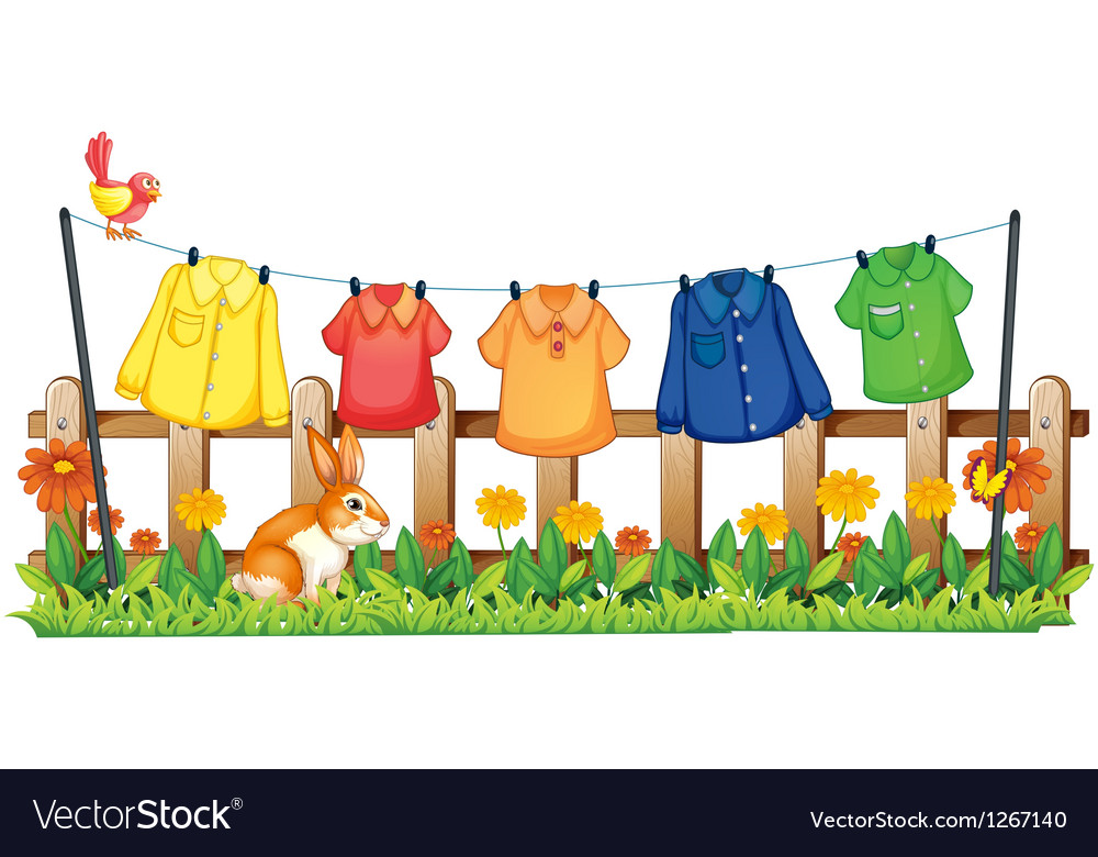 A garden with hanging clothes and a bunny vector
