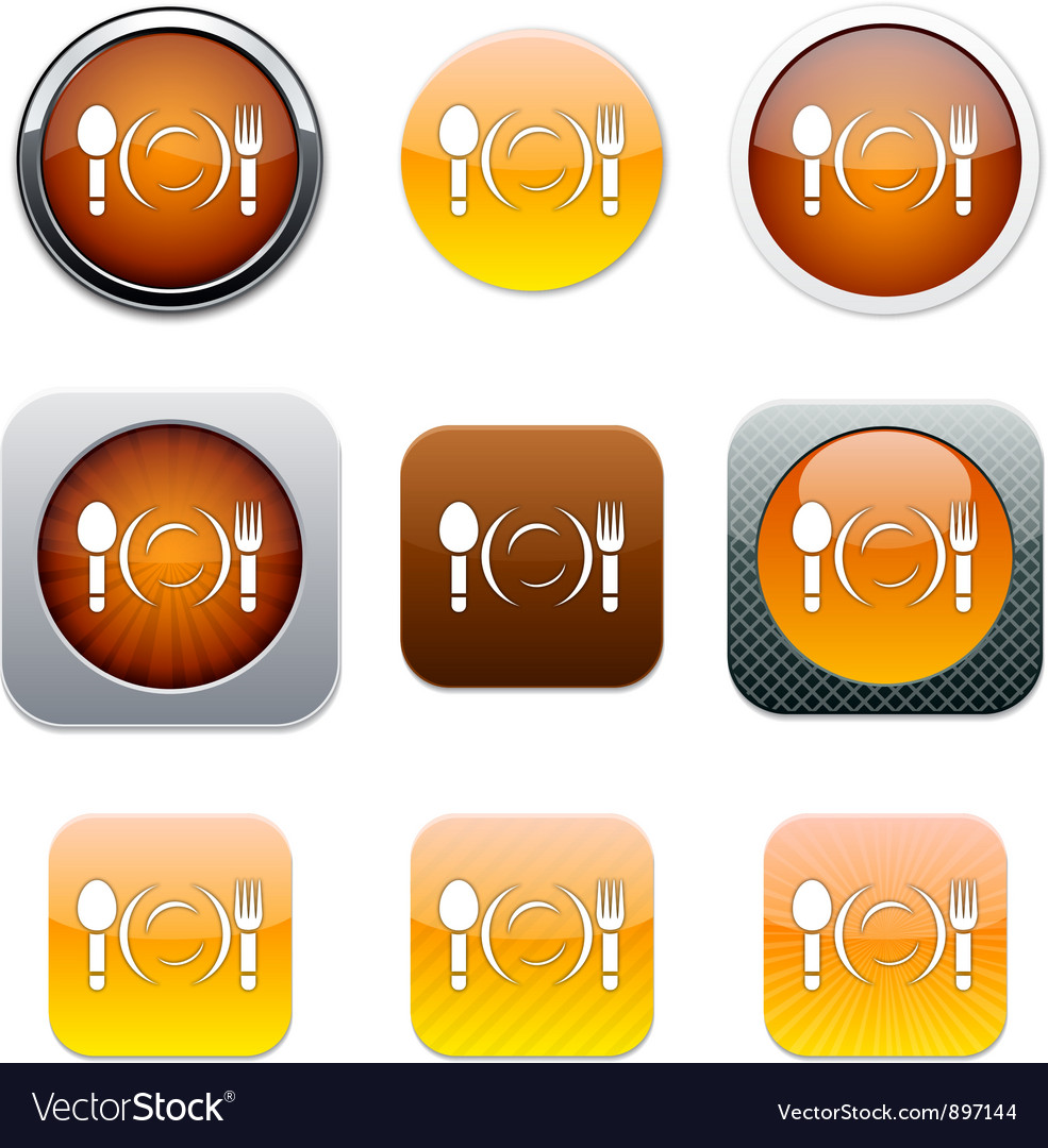 Dinner orange app icons vector