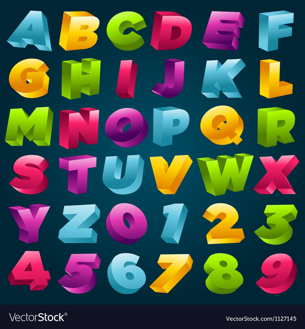 Colorful 3d alphabet and numbers vector