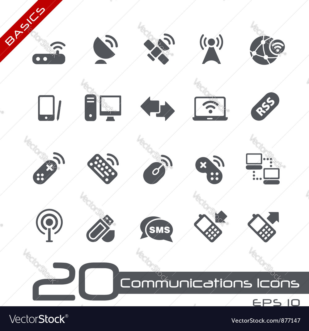 Wireless communications basics series vector