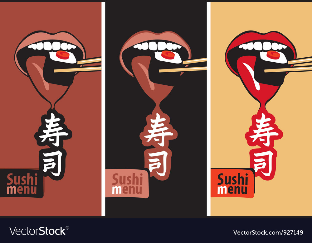 Mouth eat sushi vector
