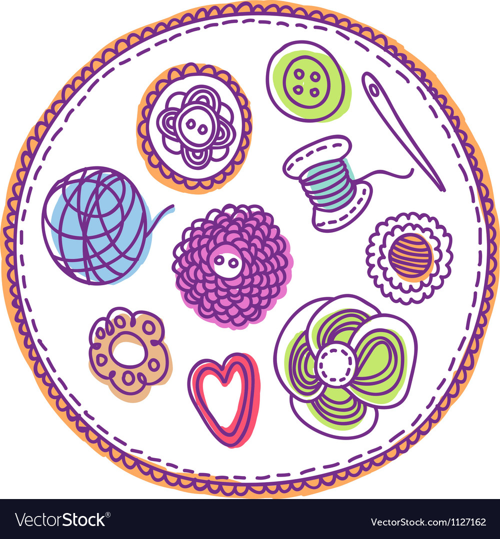 Handdrawn needlework elements vector