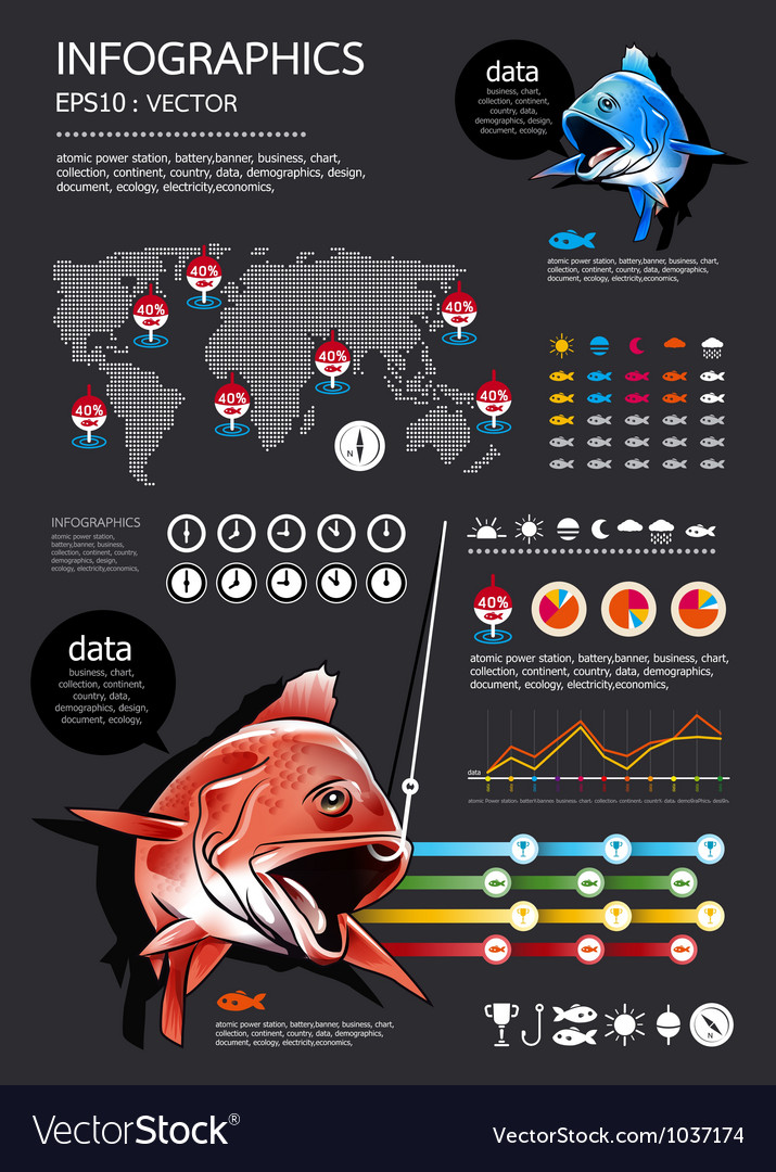 Fishing infographics vector